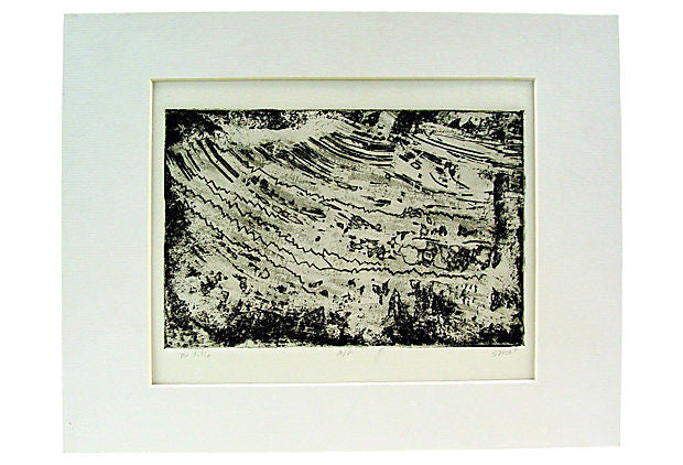 Abstract Black & White Etching - Artifax antiques & design