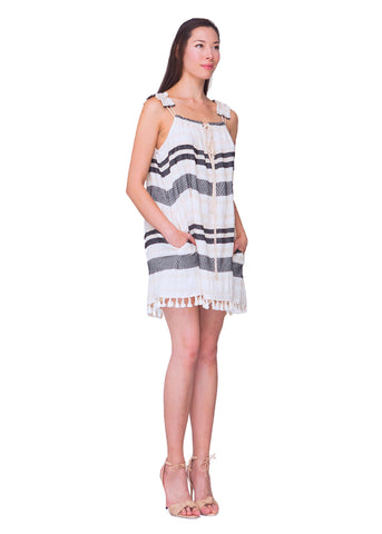 Tuscan Stripe Fringe Dress