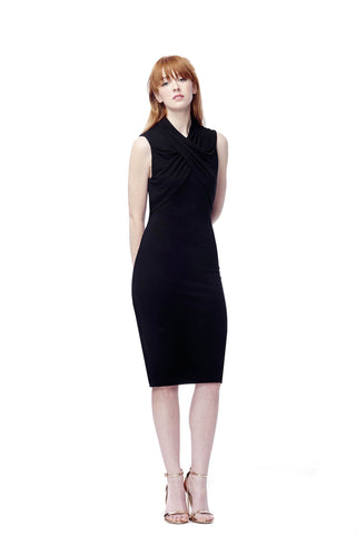 Mock Neck Surplice Dress