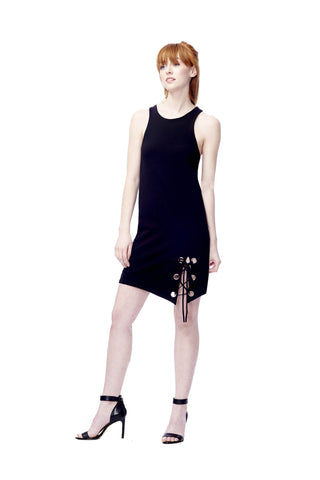 Grommet Lace Up Dress
