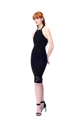 Sheath Halter Dress w/ Grommets