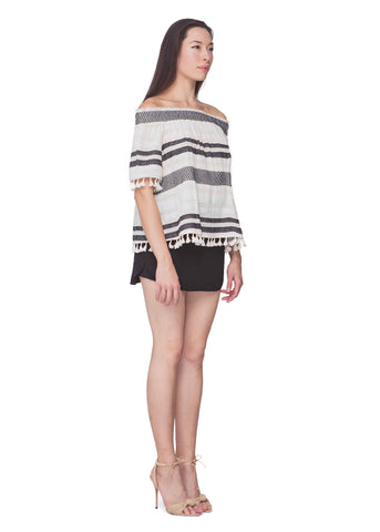 Tuscan Stripe Fringe Top
