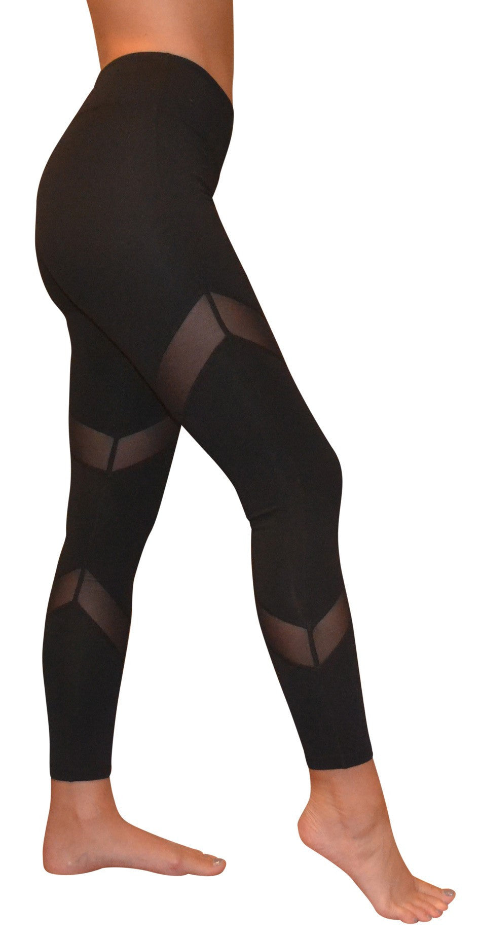 Mesh Cutout Leggings Black Yoga Pants