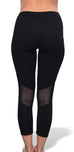 Jessica Mesh Capri Yoga Pants (Black)