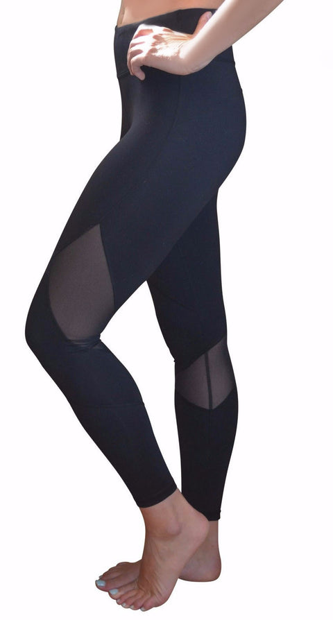 High Waisted Mesh Leggings (Black)