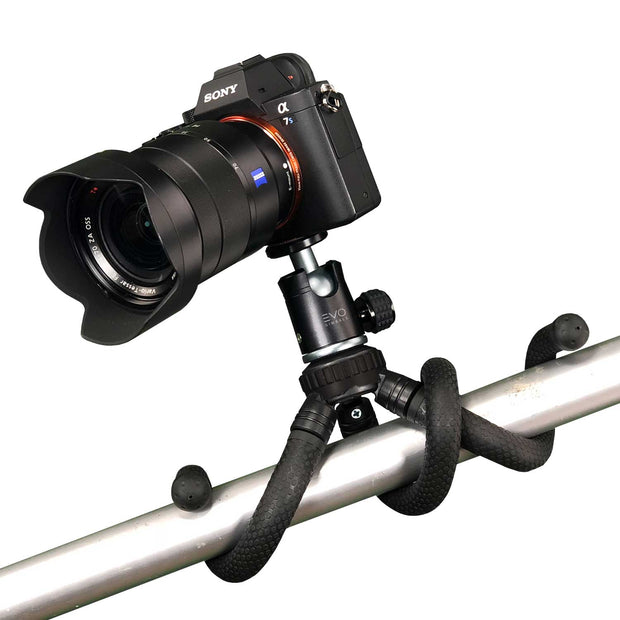 EVO GS-Flex Flexible Camera Tripod with 360 Ball Head wrap around post with Sony A7S II