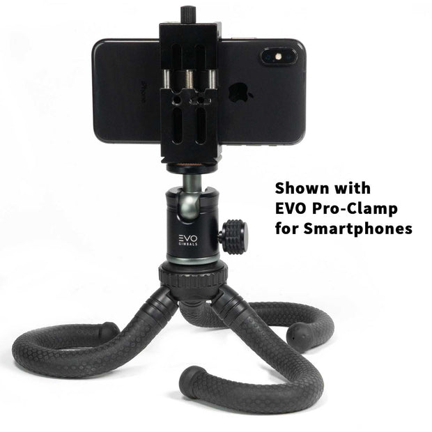 EVO GS-Flex Flexible Camera Tripod with 360 Ball Head - shown with EVO Pro-Clamp for smartphones & iPhone X