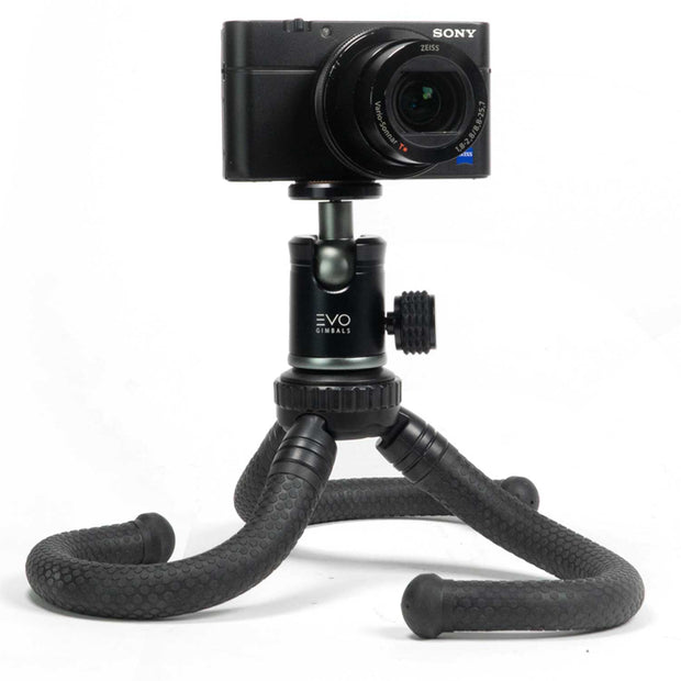 EVO GS-Flex Flexible Camera Tripod with 360 Ball Head - shown with Sony RX100 camera