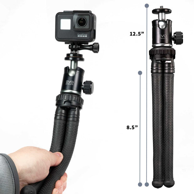 EVO GS-Flex Flexible Camera Tripod with 360 Ball Head - overall length specifications,  shown with GoPro Hero7 Black