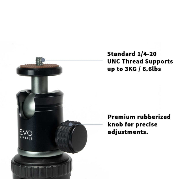 EVO GS-Flex Flexible Camera Tripod with 360 Ball Head - close up of CNC Ball head and adjustment knob