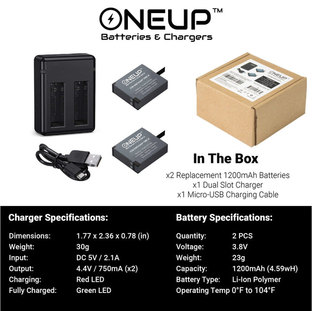 ONEUP™ Battery and Charger Kit for Insta360 ONE X Batteries ONEUP Batteries
