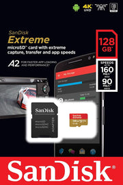 sandisk-128GB-extreme-microSDXC-V30-memory-card-with-adapter-packaging-frontside