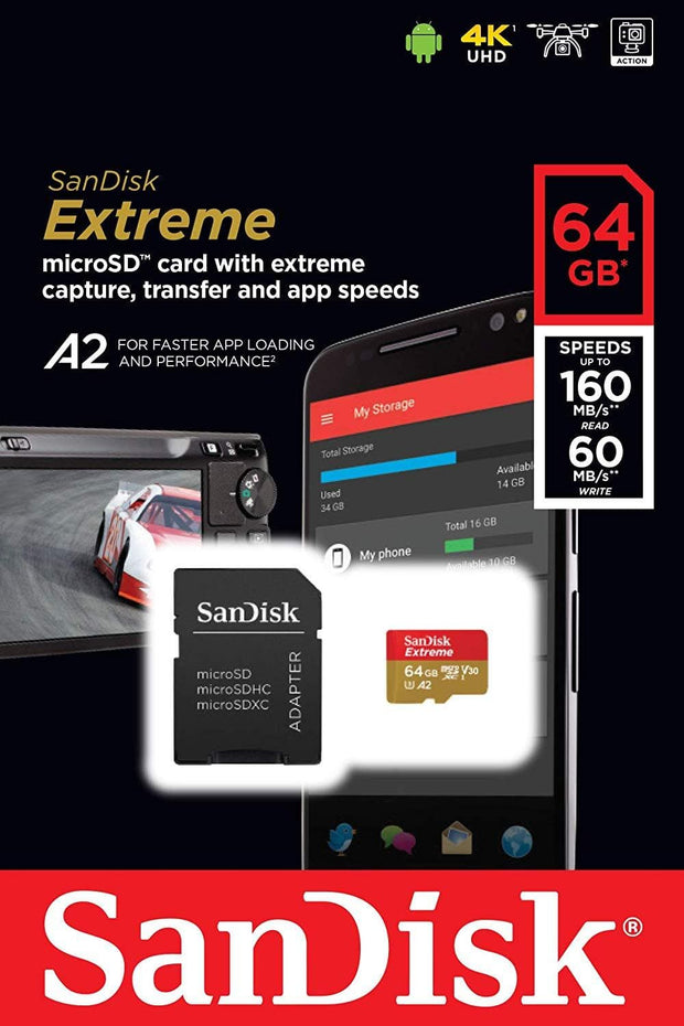 SanDisk 64GB Extreme microSDXC UHS-I Memory Card with Adapter Memory Cards SanDisk