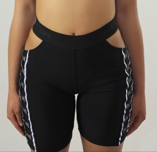 the monogram biker shorts in [ebony.]