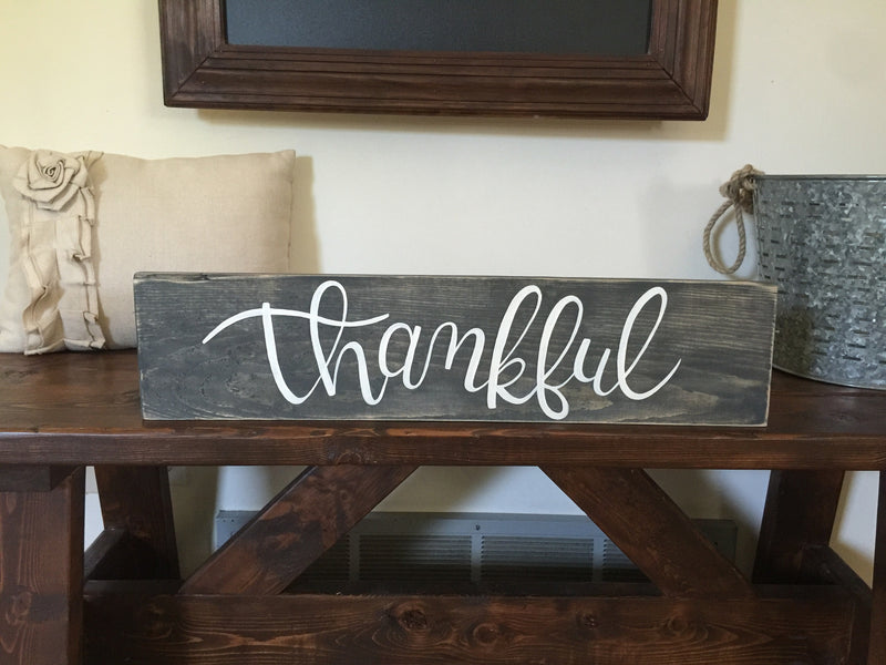 "Hand Painted ""Thankful"" Sign"