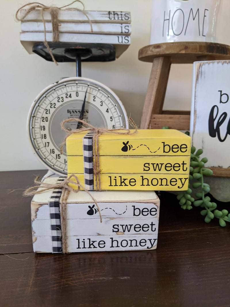 Bee Sweet Like Honey Mini Wood Blocks