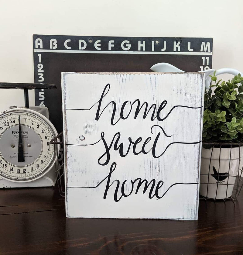 Home Sweet Home Distressed Wood Block Sign