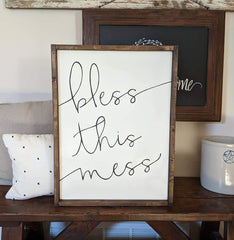Bless This Mess Framed Wood Sign