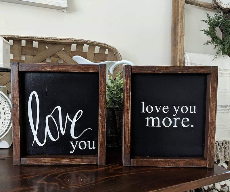 Love You Framed Wood Sign