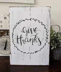 Give Thanks Hand Painted Sign
