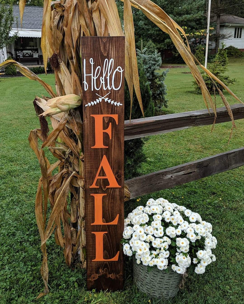 Hello Fall Outdoor/Indoor Wood Sign
