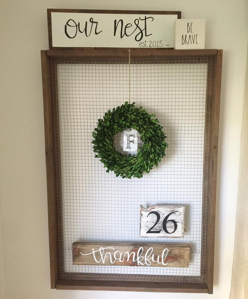 Wood Framed Display with Galvanized Fence Backing