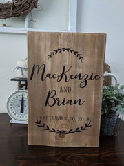 Wedding Date Ivy Names Sign