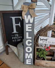 Welcome Sign with Burlap Bow Outdoor/Indoor
