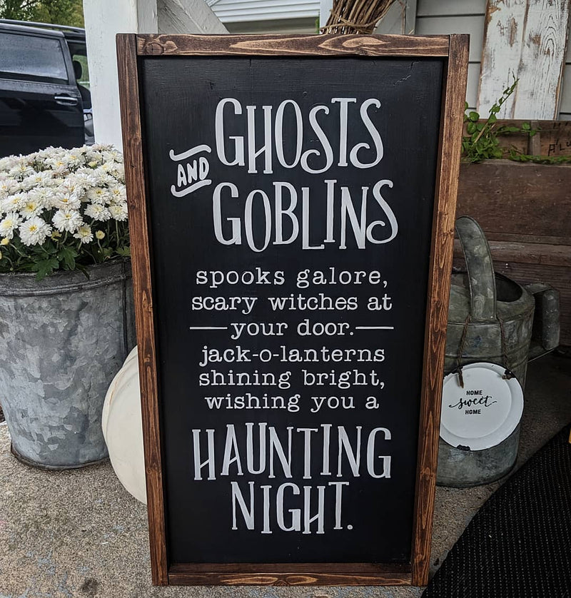 Ghosts and Goblins Halloween Sign