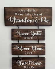 Grandkids Name Gift Sign