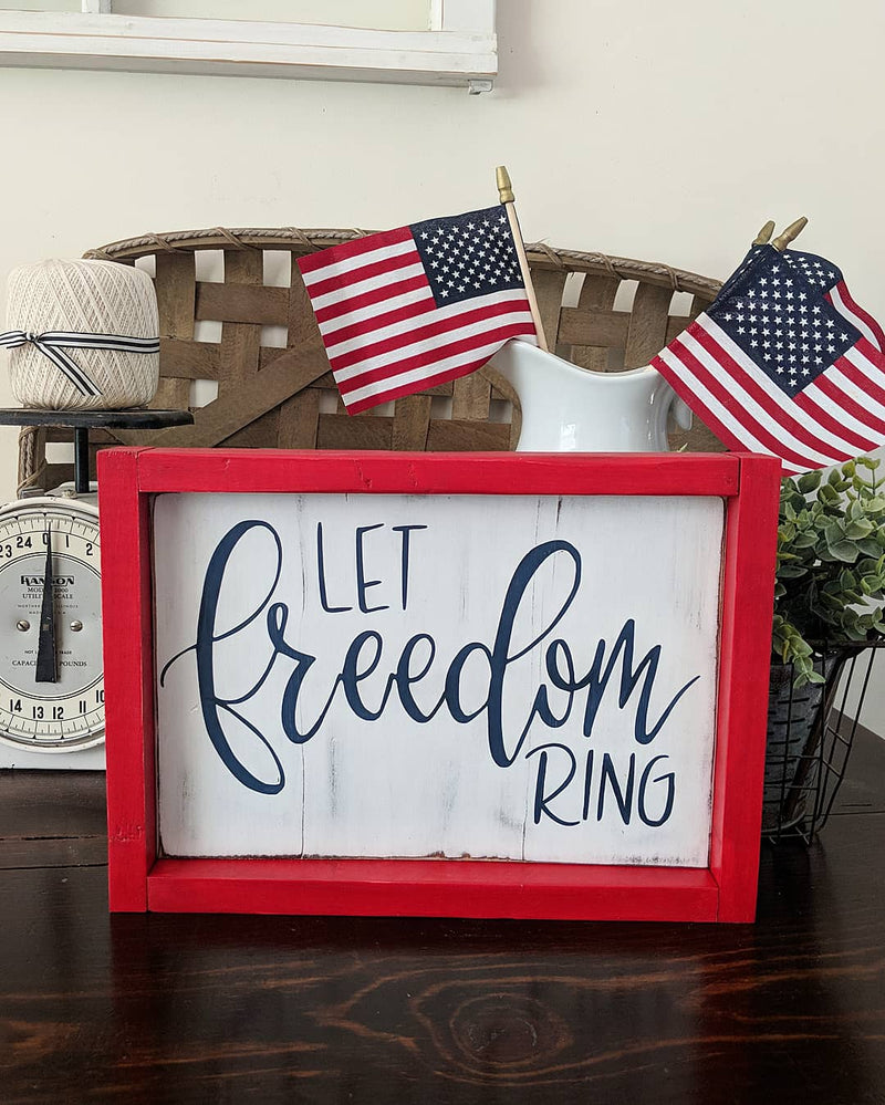 "Patriotic Wood Signs ""4th"" or ""Let Freedom Ring"""