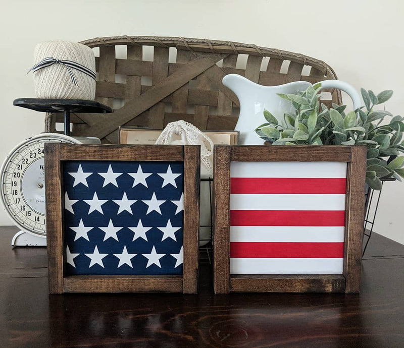 Stars and Stripes Patriotic Wood Signs Set Flag
