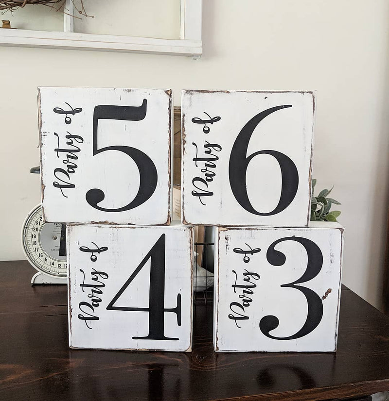 """Party of"" Family Number Wood Blocks"