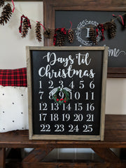 Christmas Advent Calendar Countdown Sign