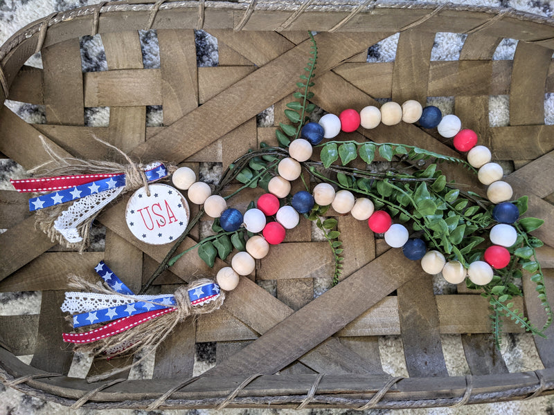 Patriotic Wood Bead Garland