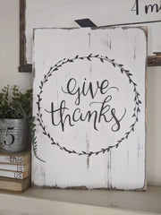 Fall Give Thanks Hand Painted Sign