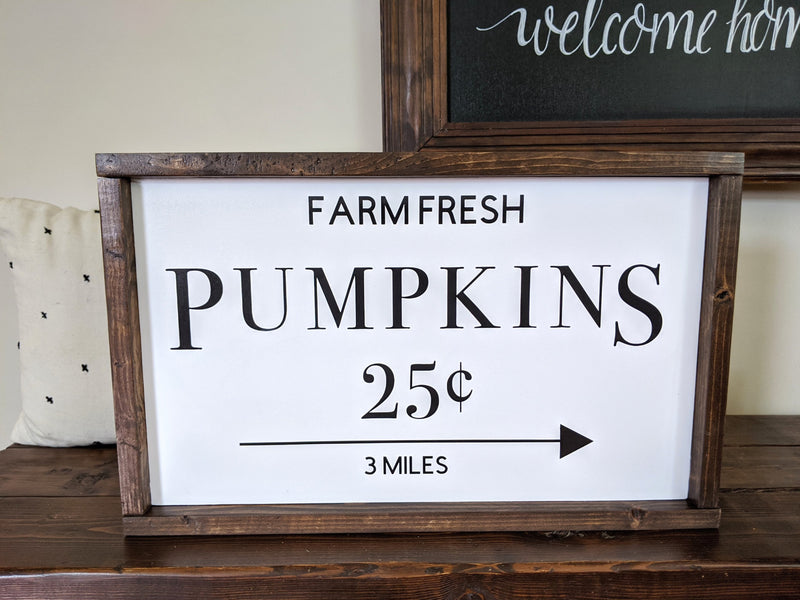 Fresh Pumpkins Framed Wood Sign Fall