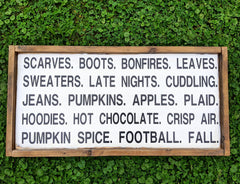 Fall Words Framed Sign