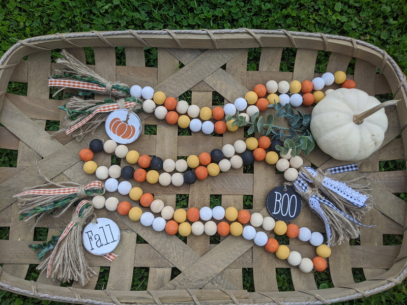 Fall and Halloween Wood Bead Garland