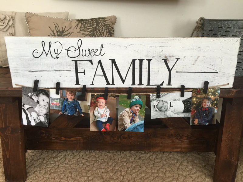 White Distressed Solid Wood My Sweet Family Sign