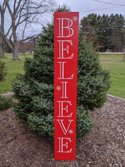 Believe Indoor/Outdoor Solid Wood Christmas Sign