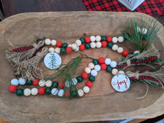 Christmas Wood Bead Garland