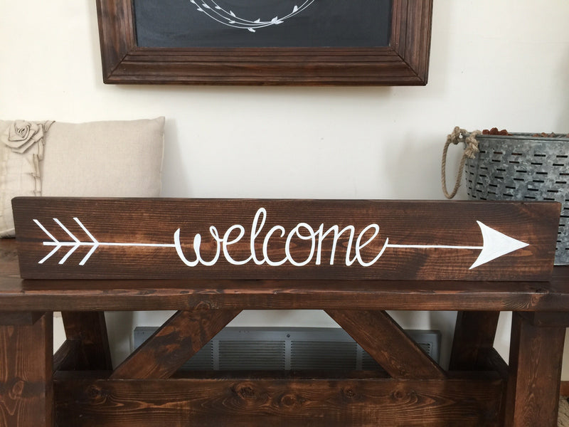 Solid Wood Hand Painted Welcome Sign