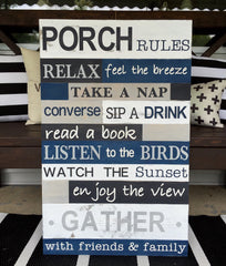 Porch Rules Wood Sign