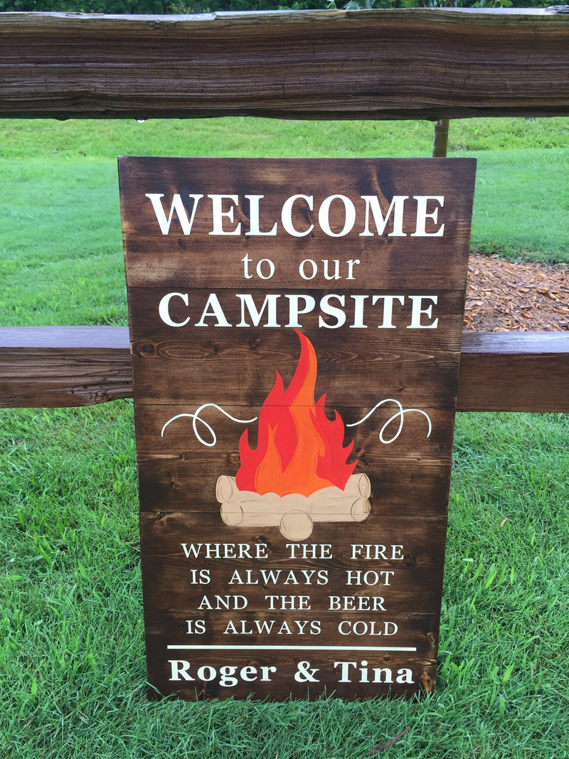 Summer Campfire Campsite Hand Painted Signs