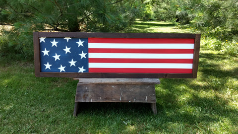 American Flag Framed Large Wood Sign