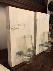 Set of Sconces Flower Jars in Heirloom White