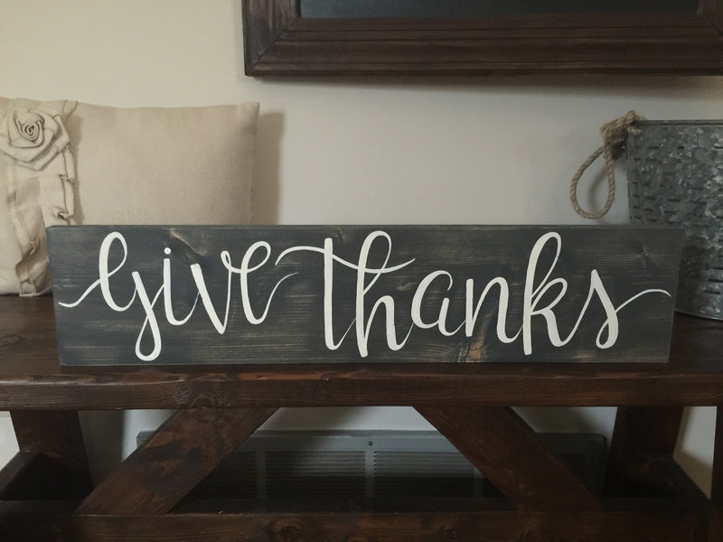 "Hand painted ""give thanks"" Fall Wood Sign"