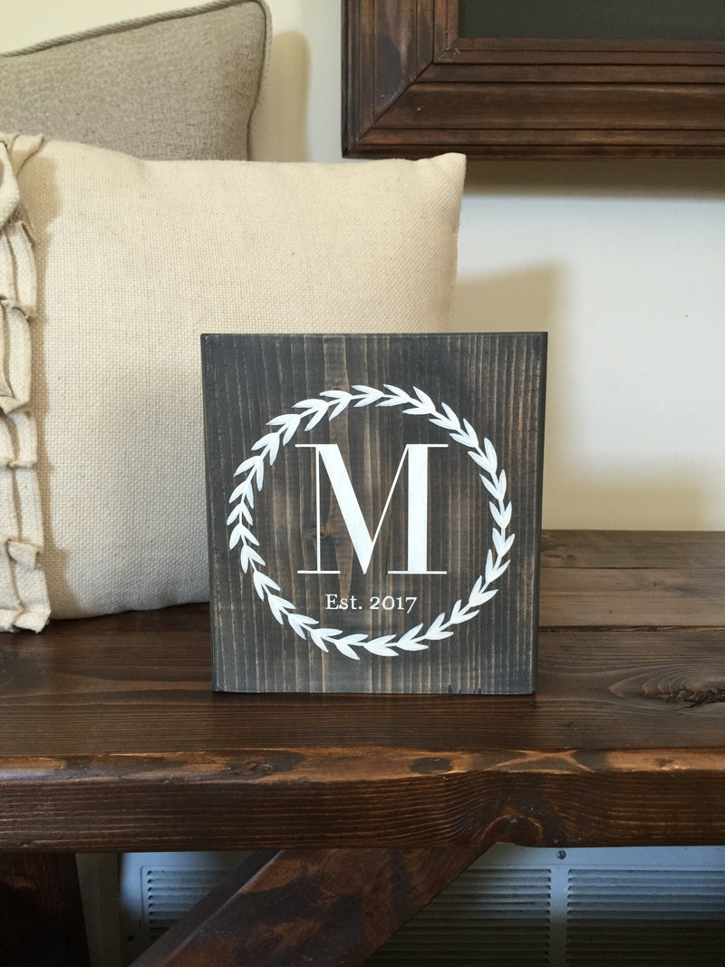 Initial Wreath Small Wood Block Sign