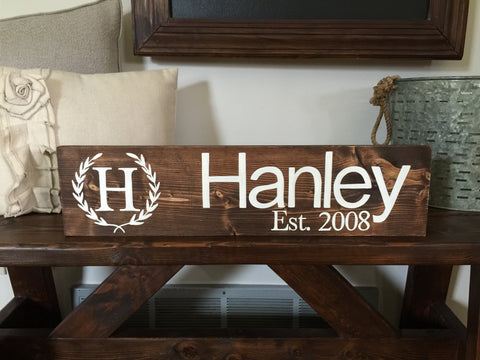 Wreath Family Name Sign